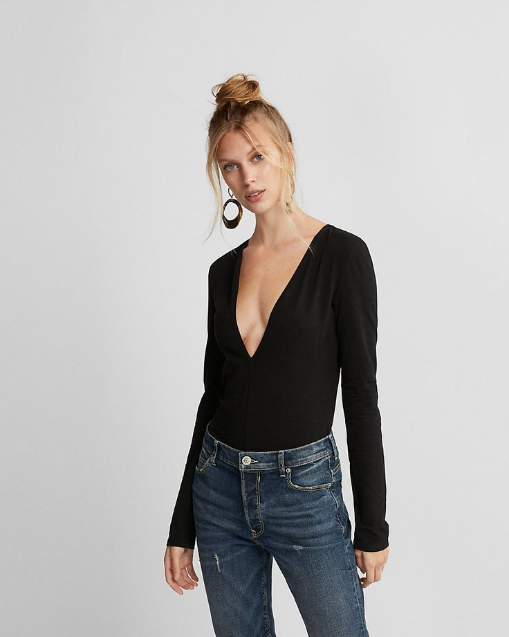 This soft thong-cut bodysuit gives you a dramatic deep v neckline with stay-put security below. Pair it with a mini skirt and strappy heels for a drop dead sexy look.