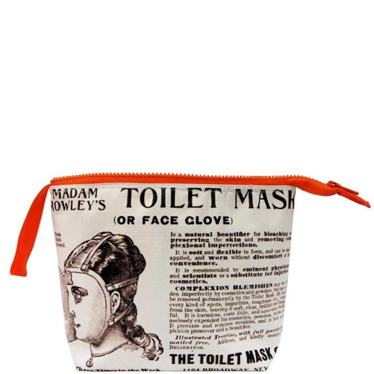 Retro toiletry bag, funky present. Toilet Mask vintage advertisement poster.