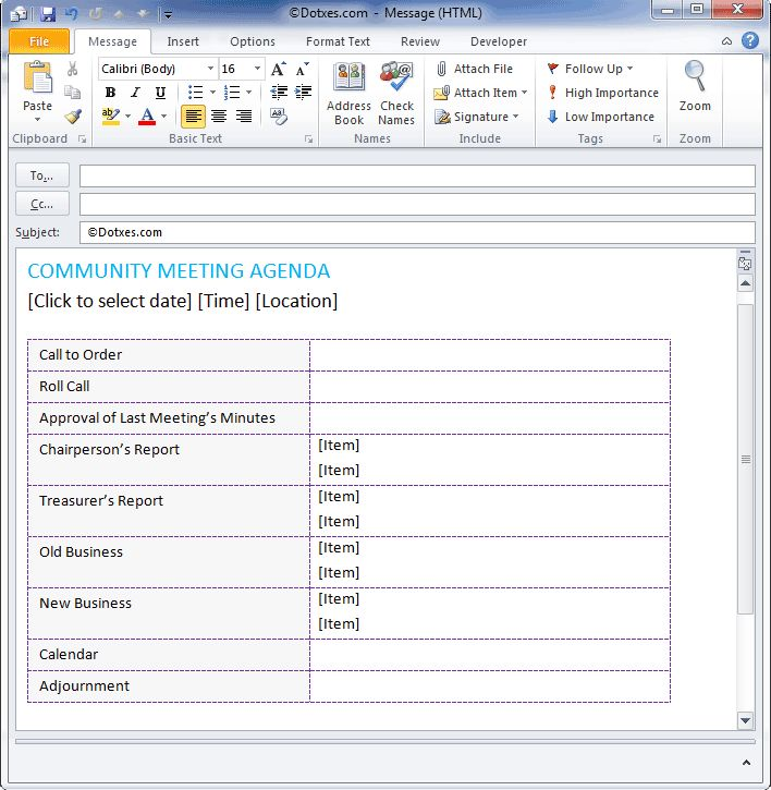 Basic Email Template Community Meeting Agenda Template (For Email)   Dotxes