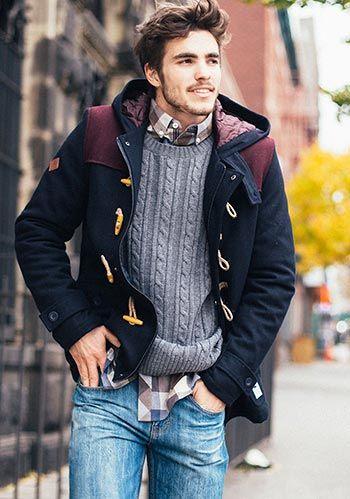 【鉄板】ダッフルコート×ケーブル編みセーター×ジーンズ(メンズ)   Italy Web