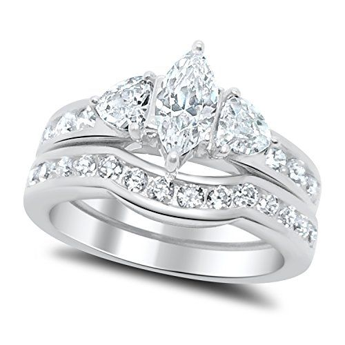 The Highest Quality CZ Wedding Ring Set AAA Cubic Zirconia Stones 925 Sterling Silver Guaranteed Center Stone Is Carat Marquise Cut Sid