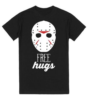 crystal lake hugs let everyone know that you are giving away free hugs this trick or treat this classic shirt will do all of the work for you