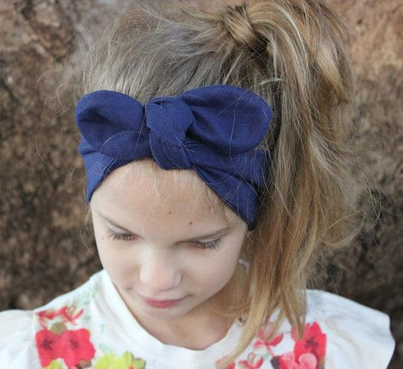 Baby Turban Headwrap navy blue headband Greta by ElleBelleBliss $11.50 AUD