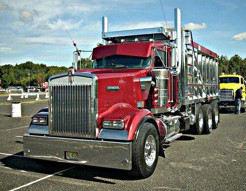Red custom kenworth dump truck