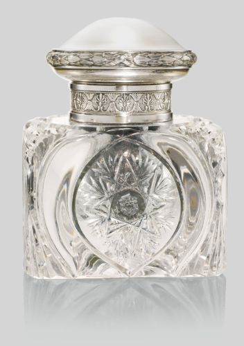 A Fabergé silver-mounted cut glass inkwell, Moscow, 1908-1917 | Lot | Sotheby's