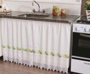 cortina de renda para pia de cozinha