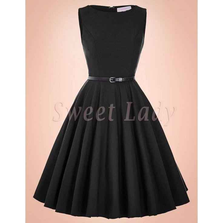 Šaty čiernej farby v retro štýle