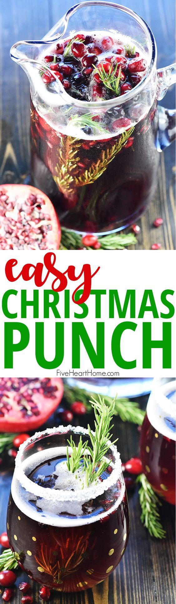 Easy Christmas Punch ~ a festive, sparkling, boozy holiday beverage featuring champagne, pomegranate juice, and cranberry juice that's perfect for Christmas or New Year's Eve parties...and it's easy to make a non-alcoholic version as well! | FiveHeartHome.com #christmas #holiday #punch #punchrecipes #champagne #champagnepunch #prosecco #pomegranate #cranberry #christmasrecipes #recipe #fivehearthome