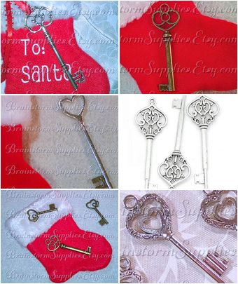 Cute Santa's Magic Key Options from BrainstormSupplies.Etsy.com  For homes without a chimney!  Ease the kids minds with a special key just for Santa!  #Christmas #SantaKey #MagicKey #KidsDeserveIt #CraftSupplies