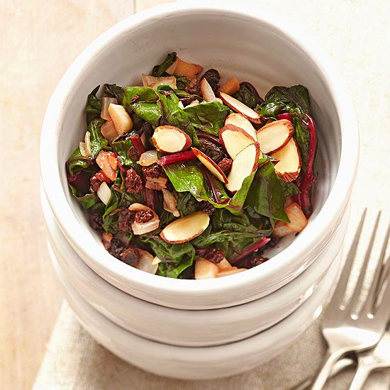 Braised Swiss Chard with Currants and Almonds