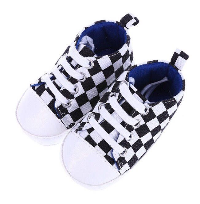 A personal favorite from my Etsy shop https://www.etsy.com/listing/547345503/baby-checkered-sneakers