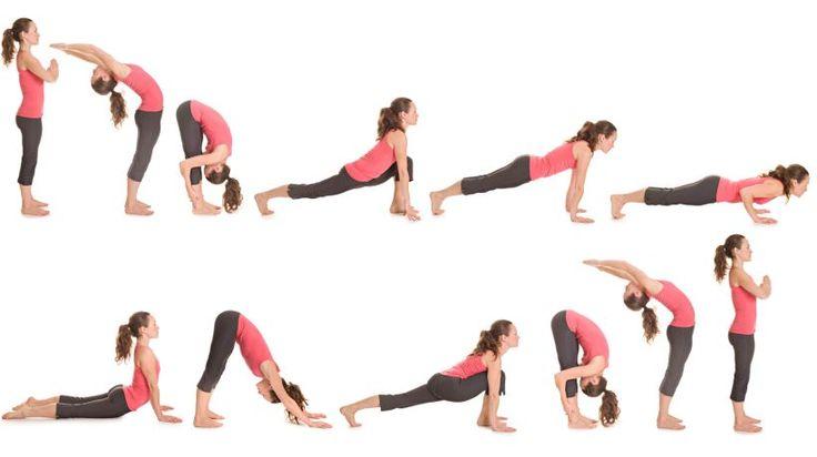 Der Sonnengruß ist die wohl bekannteste Übungsreihe aus dem Yoga. Die verschiedenen Positionen (darunter Vorbeuge, Kobra, Hund) werden fließend im Atemrhythmus miteinander verbunden. Die fünf bis zehn Wiederholungen erfrischen zum Wachwerden am Morgen oder wärmen zu Beginn einer Yogastunde alle Muskelgruppen auf.