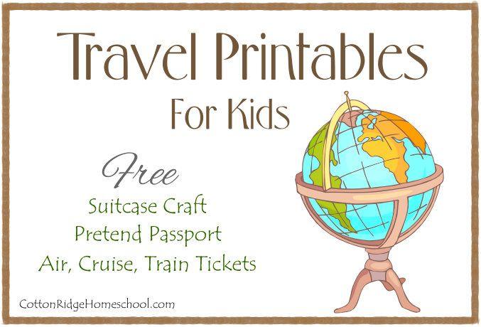 Travel Printables for kids - pretend passport, suitcase craft, pretend travel tickets.