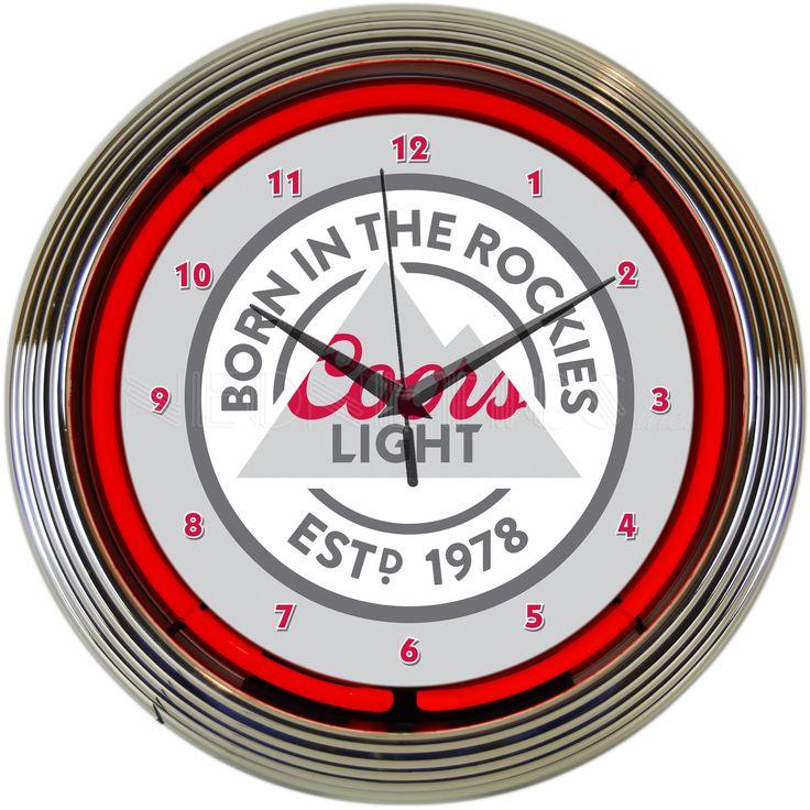 """15"""" Coors Light Beer Born in the Rockies Neon Clock"""