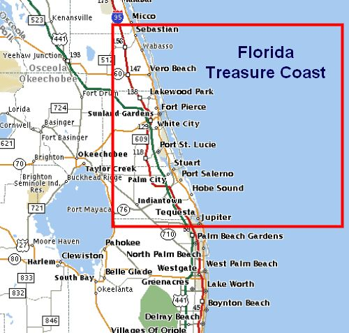 Port Saint Lucie Florida Map Of Showing Treasure Coast Google Search
