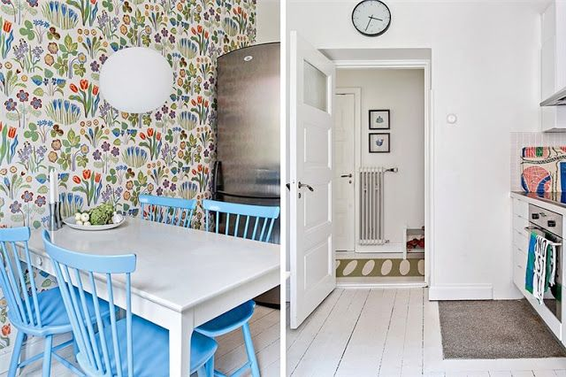 my scandinavian home: Lime green and blue in a Swedish apartment. Love the wallpaper (from Svenskt Tenn) and blue chairs!