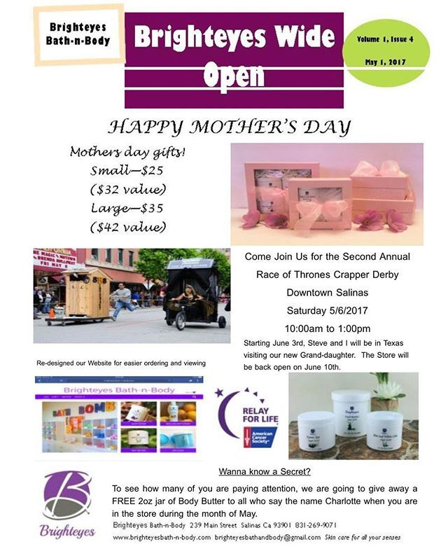 May newsletter. #shopping #handmade #shoplocal #skincare #shoppingonline #onlineshopping #shopsmall #shoponline  #bathtime #girlboss #handmadewithlove  #womeninbusiness #treatyoself #beautyproducts  #iloveskincare  #beautyproduct #bathandbody #bathproducts #skincareroutine #skincareaddict #skincarejunkie #831 #salinas #salinasca #oldtownsalinas #downtownsalinas #centralcoast #montereylocals #salinaslocals- posted by Brighteyes Bath-n-Body https://www.instagram.com/brighteyes_bathnbody - See…