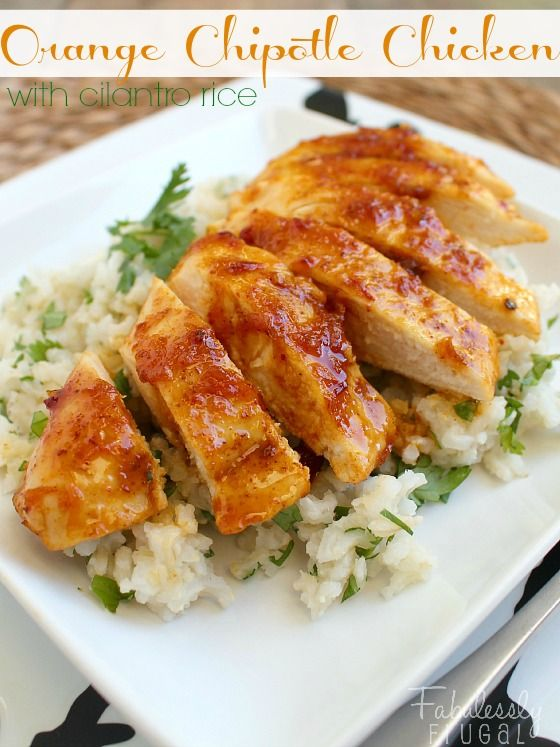 Orange Chipotle Chicken with Cilantro Rice Recipe. This recipe means healthy dinner on the table in less than 30 minutes. Clean eating approved and full of flavor too!