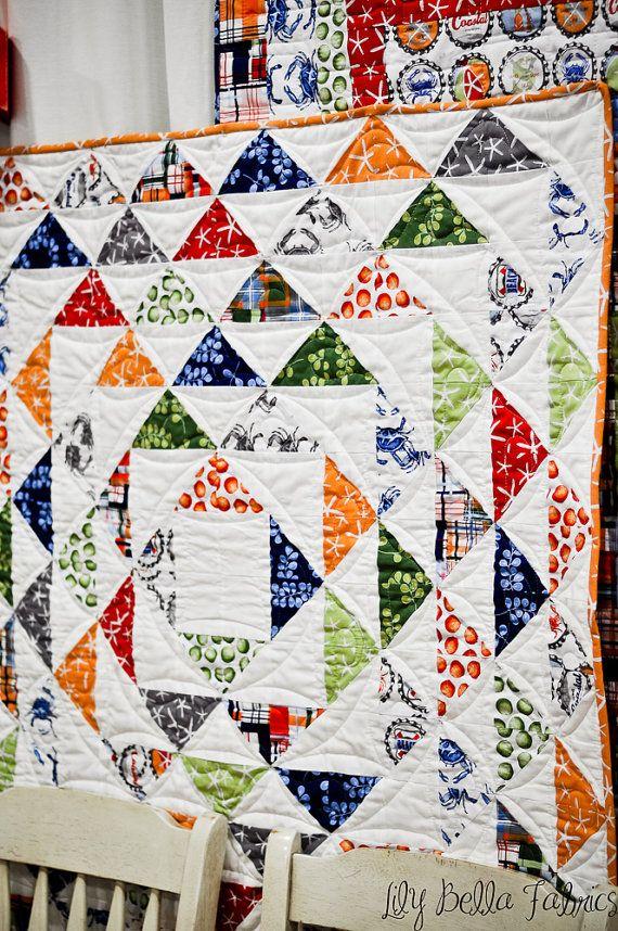 going coastal quilt...love this!: Half Squares Triangles, Hst S, Half Square Triangles, Triangles Quilt, Quilt Hst, Coastal Quilt Lov, Hsts, Coastal Quiltlov, Bigger Triangles