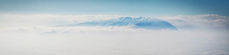 Panoramic view over Piatra-Craiului Mountains in Transylvania.