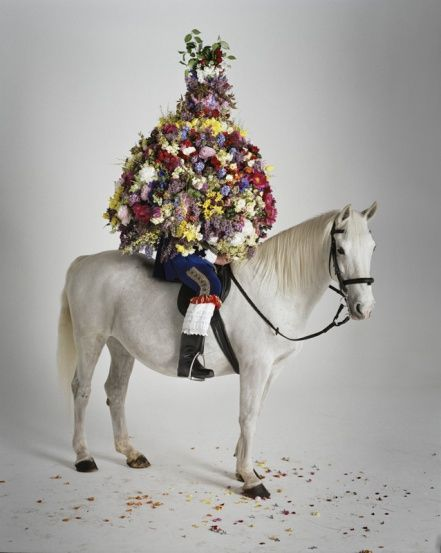 Tim Walker for British Vogue: Castleton Garland & White Horse | La Cavalière masquée
