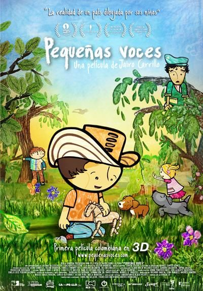 DVD ANIM 167 - Pequeñas voces (2010) Colombia. Dir: Óscar Andrade y Jairo Eduardo Carrillo. Documental. Infancia. Sinopse: esta 1ª película latinoamericana en 3D comeza cun dato arrepiante: segundo UNICEF en Colombia hai un millón de nenos desprazados por mor da guerra do país. Seguramente moitos estudiosos e especialistas terán moitas cousas que dicir acerca deste aterrador feito, pero neste caso os nenos terán a palabra e coas súas voes e dibuxos narrarán as súas experiencias