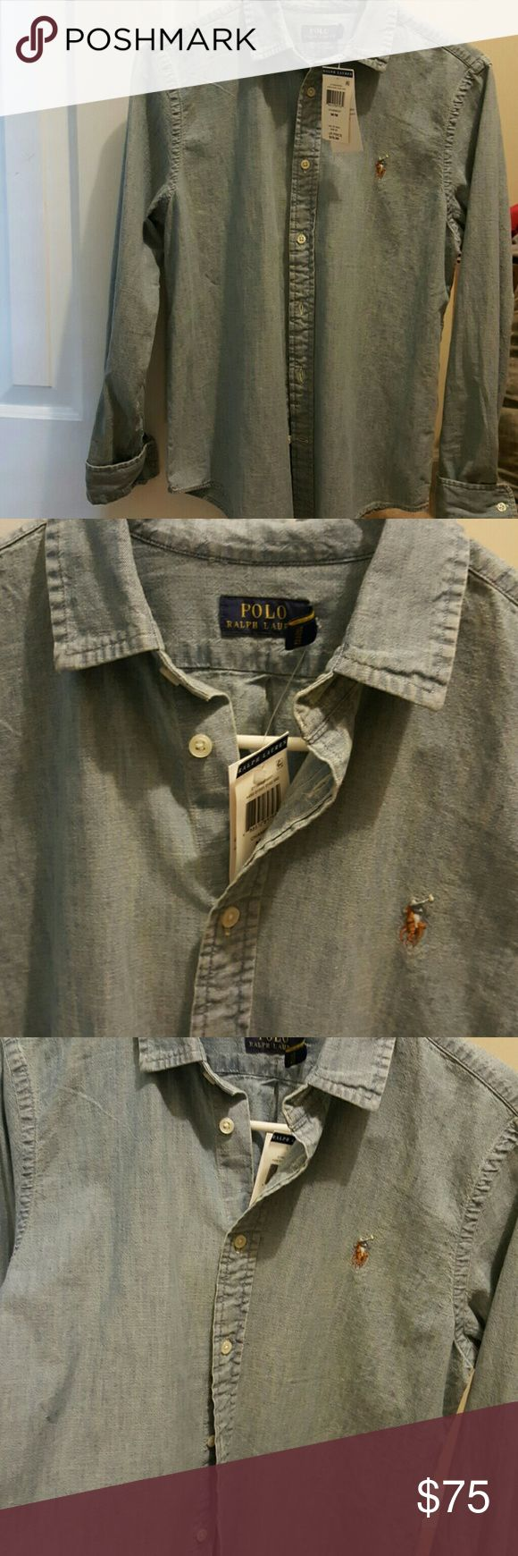 NWT POLO RALPH LAUREN CHAMBRAY BUTTON DOWN Brand new with tags,  in perfect condition,  never worn. Chambray button down. Denim colored, classic with brown white and blue horse and man. Very comfortable and goes with everything. 100% Cotton and great for Summer. Polo by Ralph Lauren Tops Button Down Shirts