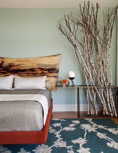 The branches could be substituted with bamboo for a Zen inspired room! Applegate Tran Interiors contemporary bedroom. Find the poles at www.bamboo-home.com