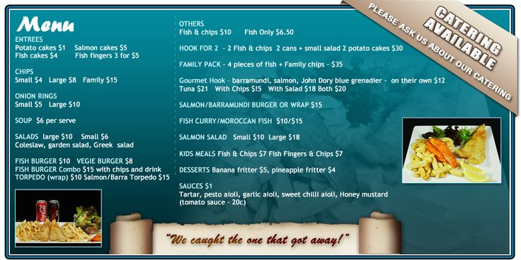 off the hook fish and chip shop's menu