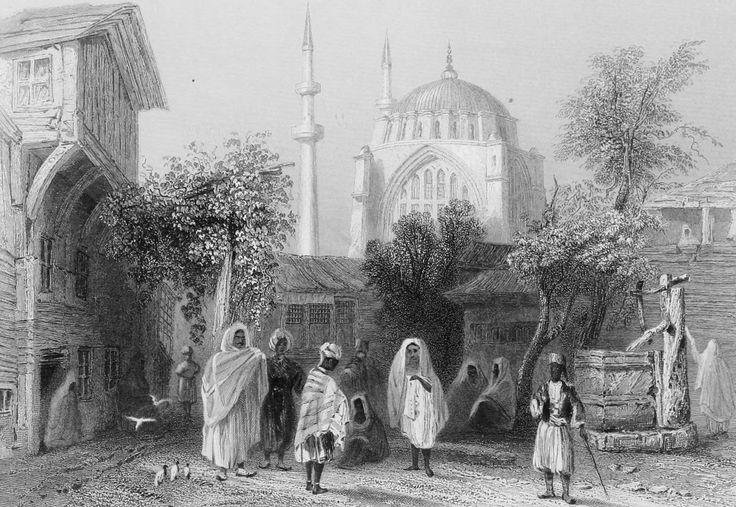 """İstanbul Nuruosmaniye'de Köle Pazarı Gravür. William Henry Bartlett tarafından çizilmiş, Miss Julia Pardoe'nin 1838 yılında Londra'da basılan """"The Beauties of the Bosphorus"""" adlı meşhur seyahatnamesi nde yer almış orjinal çelikbaskı gravür. Bu seyahatname Osmanlı gündelik yaşamı ve İstanbul güzelliklerini anlatmakta olup 19. yüzyıl Avrupası'nın en çok ilgi çeken kitaplarından biri olmuştur"""