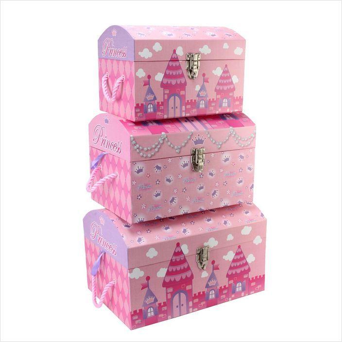 Childrens Kids Bedroom Furniture Set Toy Chest Boxes Ikea: Tri-Coastal Design Princess Castle Nested Domed Trunks