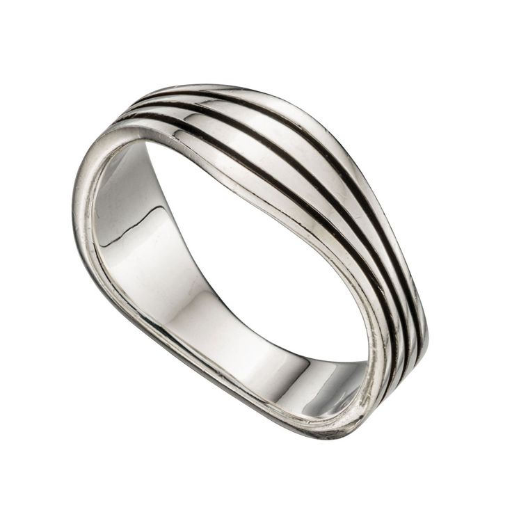 Sterling Silver Men's Wavy Band Ring - With a contemporary and free spirited feel, this stylish ring from the must-have Beginnings collection is designed and created with quality at its core using 925 grade sterling silver: http://ow.ly/Xyczc