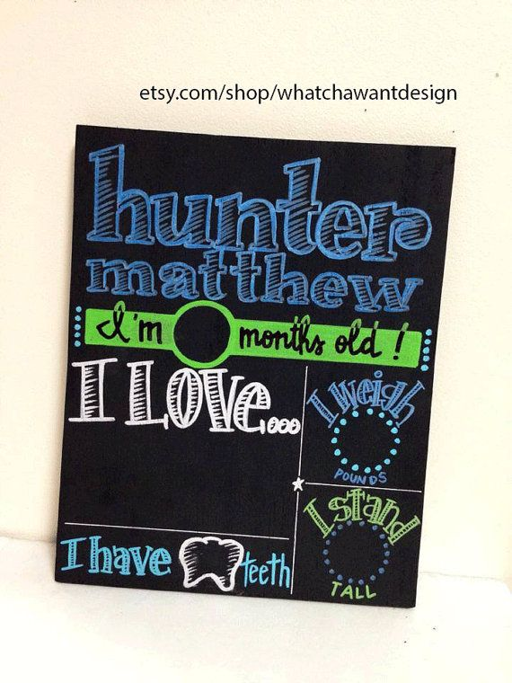 """Onesie month stickers are SOOO last year!! This is the newest MUST HAVE for capturing your baby's first year month by month!! Baby's name and areas for age, """"loves"""", height, weight, and teeth are permanently painted on so you can use chalk to fill it out for pics each month! LOVE THIS IDEA!!! Choose your own colors!  BRAND NEW MonthbyMonth CHALKBOARD unique by WhatchawantDesign"""