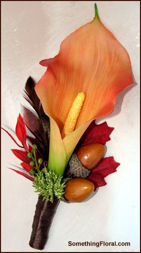Autumn groom's boutonniere, created by Something Floral / Something Spectacular…