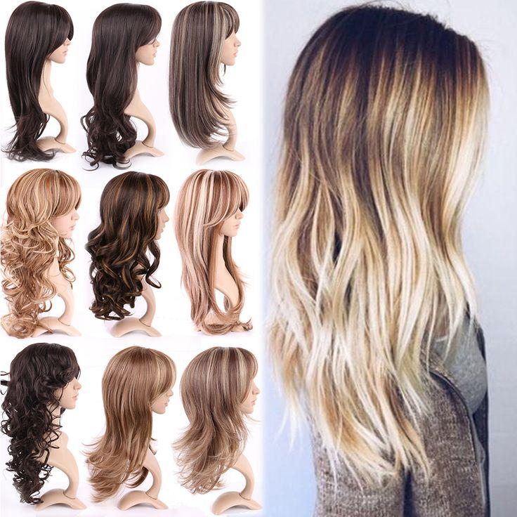 2016 Новый Прически Топ Милые Женщины Дамы Природных Длинными Вьющимися Волнистые Слой Полный Голову Парики 100% Лучших Японских Синтетических Волос