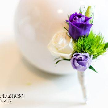 kwiaty do butonierki mieszany zielony fioletowy biały goździk eustoma