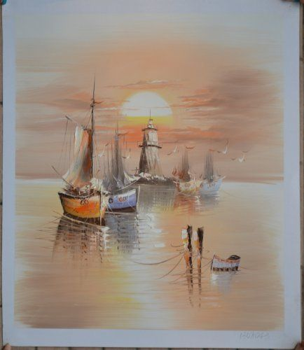 """100%handmade Seaside Boats on Sunset Painting Size 20x24"""" by Landscape Oil Painting, http://www.amazon.com/dp/B00BOK3N72/ref=cm_sw_r_pi_dp_c7CXrb1QW0DGG"""