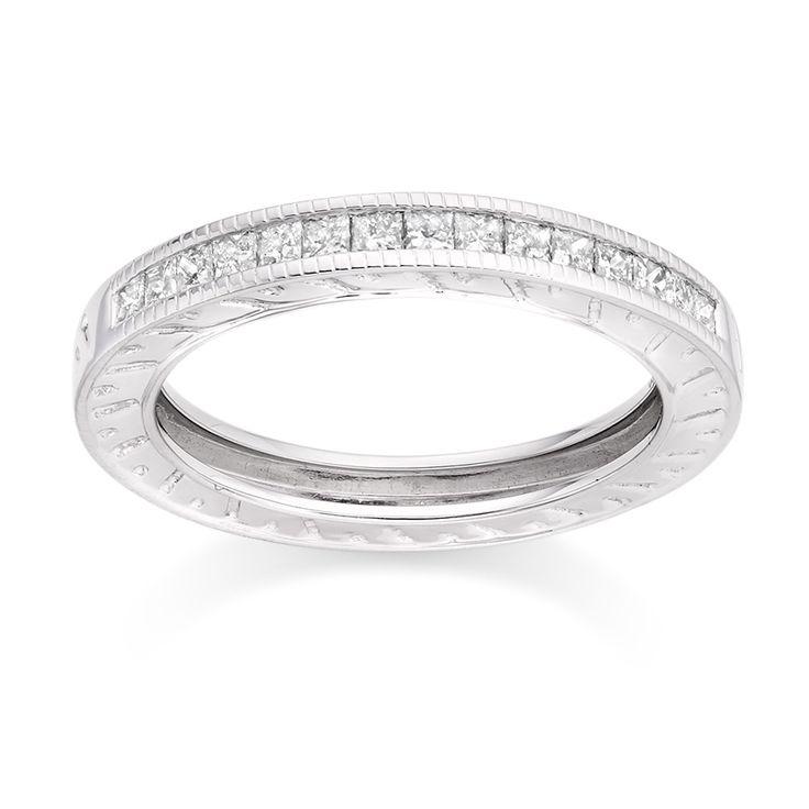 Milgrain Engraved Diamond Ring in 18k White Gold  £899 vashi.com
