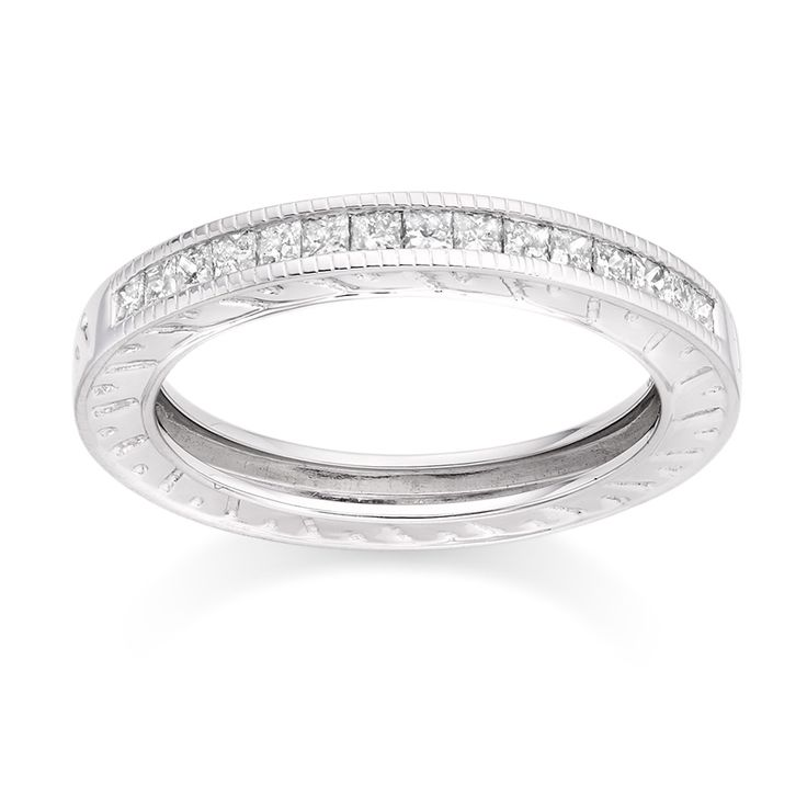 Milgrain Engraved Diamond Ring in 18k White Gold  £899 vashi.com