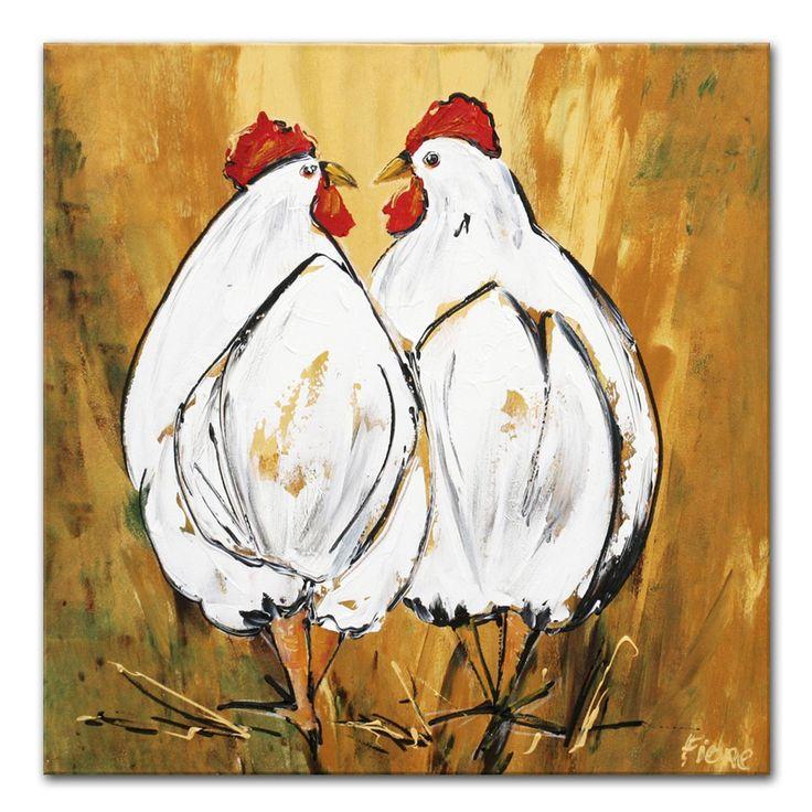 Schilderij Kippen Dit schilderij is door onze kunstenaar o.a met paletmes geschilderd. De kippen zijn door onze kunstenaar met wit geschilderd, maar hebben ook enkele warmgrijze kleuraccenten. In de achtergrond zitten okertinten en groenige tinten.