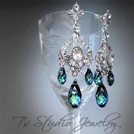 Peacock Blue Wedding Jewelry Bridal Chandelier Earrings by TZTUDIO, $70.00