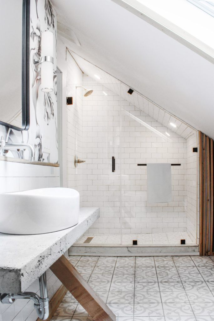 Before After The Tiny Suite Remodel Sloped Ceiling Bathroom