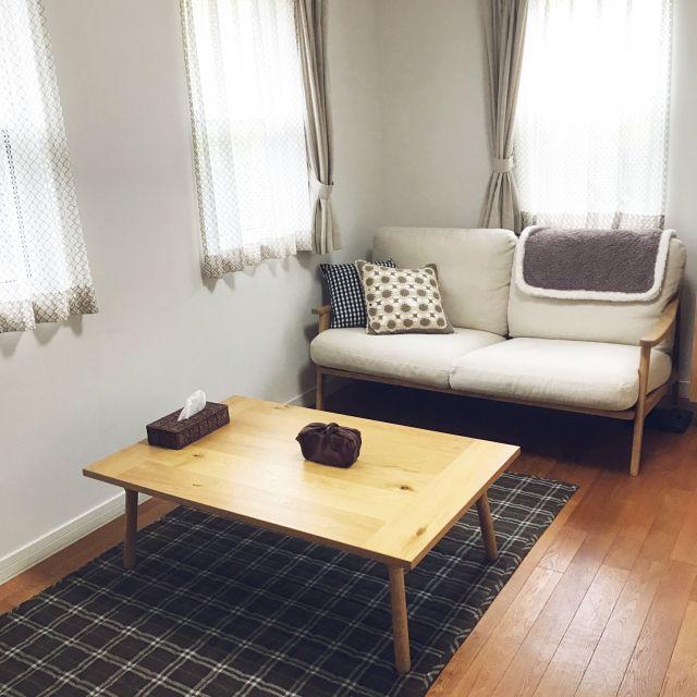 akiraさんの、プロフィールからminneいけます,ミンネ販売中,漆喰の壁,無垢の床,インターデコハウス,ナチュラルインテリア,ブラウン,ロクサーのソファ,Lounge,のお部屋写真