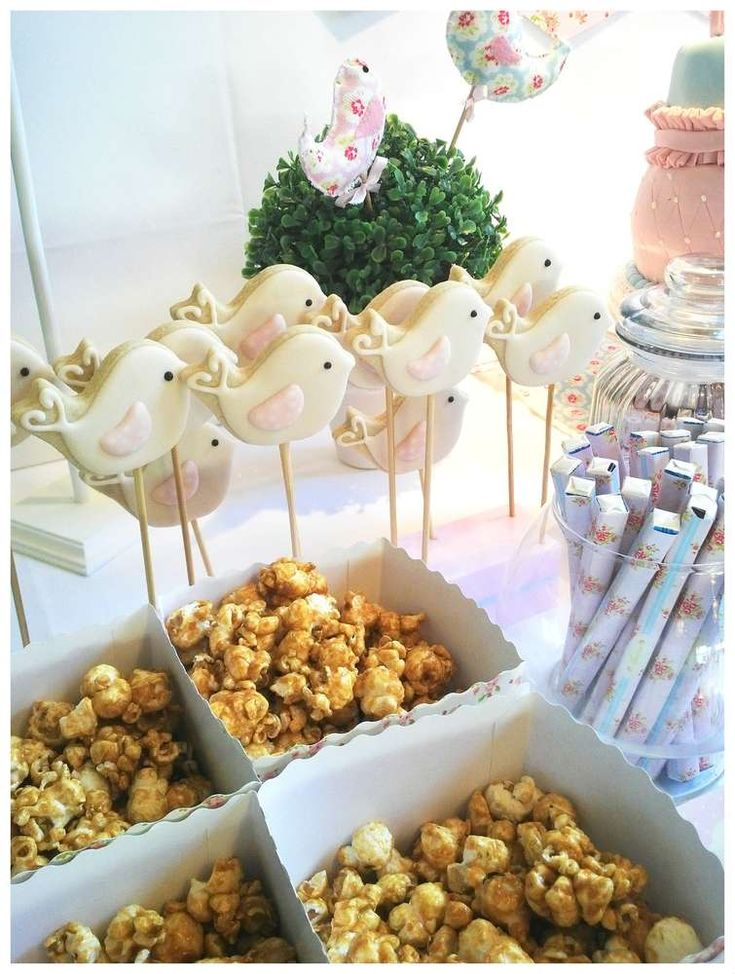 Shabby chic 1st birthday party bird cookie pops! See more party planning ideas at CatchMyParty.com!