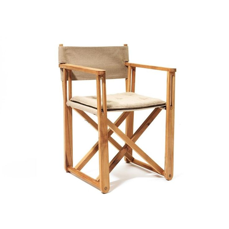 The Kryss Chair was designed for the Swedish Embassy in 1975 and features a foldable teak frame and a fabric seat and back. The inspiration for the chair is from the discovery of folding chairs in King Tut's ancient tomb. It can be used in both indoor and outdoor settings.
