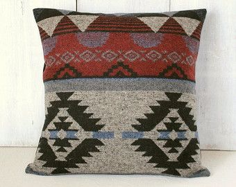 Aztec Pillow Cover - Red Gray Black Blue Pillow - Indian - Navajo - Ranch - Southwestern Pillow Cover