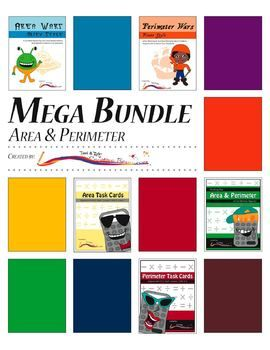 This mega bundle of all of our area and perimeter products. There are three sets of math task cards and two games. Here is a quick look at each individual product. $
