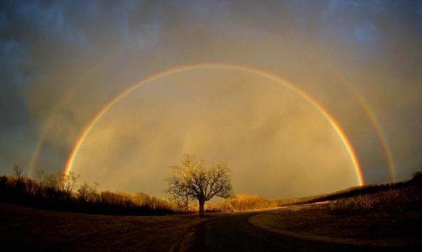 Double rainbow over McFall,Missouri