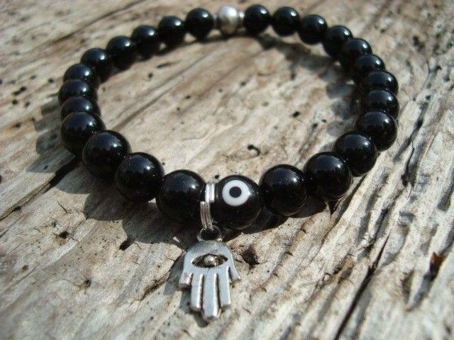 wtfbeads...Mens Black Evil Eye Hamsa Hand Stretch Protection Beaded Bracelet