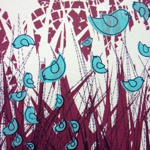 Blue Birds - 4 Colour Screen Print  Plum